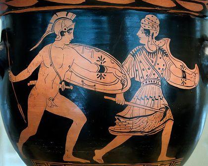 Combat d'Achille et Penthésilée. Marie-Lan Nguyen cc-by http://fr.wikipedia.org/wiki/Fichier:Bell-krater_Akhilleus_Penthesileia_MAN.jpg